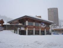 Schneien Sie in der Abteilung des Savoies in der Region Auvergne-RhÃ'ne-Alpes Stockfotos