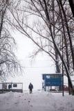 Schneiende Landschaft im Park mit den Leuten, die vorbei überschreiten lizenzfreies stockfoto