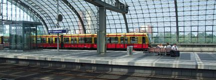 S-bahn, Class 485 DB electric multiple unit in Berlin Central terminal. Schnell-bahn Class 485 DB electric multiple unit collecting passengers in upper level of Royalty Free Stock Photo