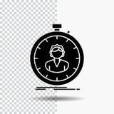 schnell Geschwindigkeit, Stoppuhr, Timer, Mädchen Glyph-Ikone auf transparentem Hintergrund Schwarze Ikone stock abbildung
