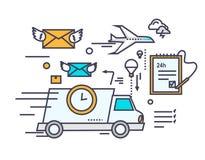 Schnelle Lieferungs-Konzept-Ikonen-flaches Design Lizenzfreie Stockfotos