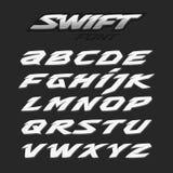 Schnelle schnelle starke futuristische Alphabetbeschriftung Alphabetauslegung in einer bunten Art Lateinische Zeichen Stockbilder