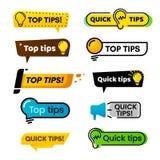 Schnelle Spitzen Ideenvorschlag, Tricklösungsrat und bester Lösungstipp lokalisierten Vektorfahnenzeichen stock abbildung