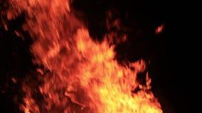 Schnelle und zeitweilige Flamme, die in der Nacht brennt stock footage