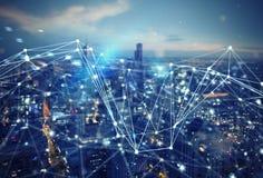 Schnelle Verbindung in der Stadt Abstrakter Technologie-Hintergrund lizenzfreie stockfotografie