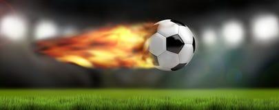 Schneller Ball 3d des Fußballfußballstadions übertragen Stockfotos