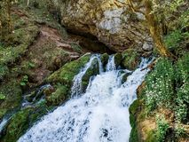 Schneller Gebirgsfluß Wasserfall Oberlaufgebirgsfluss Der Tumnin-Fluss ist der größte Fluss auf der Oststeigung lizenzfreie stockfotos