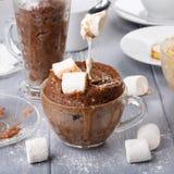 Schneller Schokoladenkuchen mit Eibisch in einem Glasbecher von der Mikrowelle stockfotos