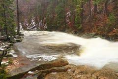 Schneller Strom Gebirgsfluss voll des kalten Quellwassers Große Steine des Pantoffels und schäumendes kühles Wasser herum Geräusc Lizenzfreies Stockbild