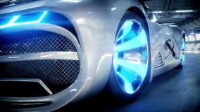 Schnelles Fahren des futuristischen Autos in sci FI-Tunnel, coridor Konzept von Zukunft Realistische Animation 4K stock footage