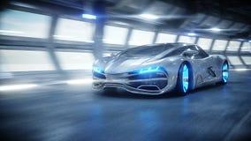 Schnelles Fahren des futuristischen Autos in sci FI-Tunnel, coridor Konzept von Zukunft Wiedergabe 3d vektor abbildung