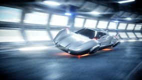 Schnelles Fahren des futuristischen Autos in sci FI-Tunnel, coridor Konzept von Zukunft Wiedergabe 3d stock abbildung