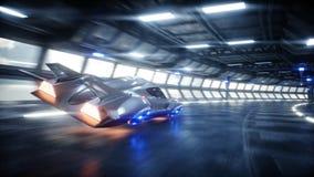 Schnelles Fahren des futuristischen Autos in sci FI-Tunnel, coridor Konzept von Zukunft Wiedergabe 3d lizenzfreie abbildung