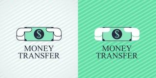 Schnelles Geldüberweisungsvektorlogo, Ikone Stockbild