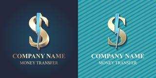 Schnelles Geldüberweisungsvektorlogo, Ikone Lizenzfreie Stockbilder