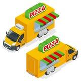 Schnelles Pizza-Lieferungs-Auto auf weißem Hintergrund Lieferwagen mit Pizzaeilsymbol Fastfoodauto mit Pizza Lizenzfreies Stockbild