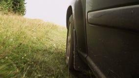 Schnelles Reitensuv auf dem Gras stock video footage