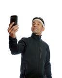 Schnelles selfie vor der Ausbildung Stockfoto