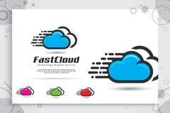 Schnelles Wolken-Arbeitsleistelogo für Technologiedatenservice mit modernem Farb- und Artkonzept, Illustration der Wolke für Scha stock abbildung