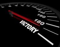 Schnellfahren in Richtung zum Sieg - Geschwindigkeitsmesser Stockbild