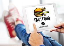 Schnellimbiß Burger-Kram-Mahlzeit-Mitnehmerkalorien-Konzept stockbild