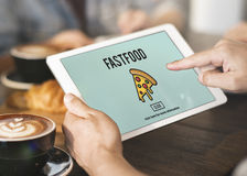 Schnellimbiß der Pizza-Ikone ungesundes Snack-Kalorien-Fett-Konzept stockbild