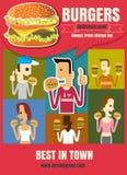 Schnellimbiss-Burgermenü des Broschüren-oder Plakat Restaurants mit Leuten Stockfoto
