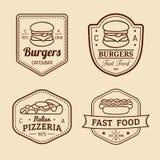 Schnellimbisslogos der Vektorweinlese eingestellt Retro- Essenzeichensammlung Bistros, Snackbar, Straßenrestaurantikonen Lizenzfreies Stockbild