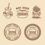 Schnellimbisslogos der Vektorweinlese eingestellt Retro- Essenzeichensammlung Bistros, Snackbar, Straßenrestaurantikonen Lizenzfreies Stockfoto