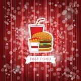Schnellimbissplakat mit rotem abstraktem Hintergrund Lizenzfreies Stockfoto