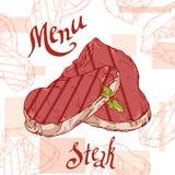 Schnellimbissplakat mit Steak Retro- Illustration des Handabgehobenen betrages Weinleseburgerdesign schablone Stockfotografie