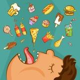 Schnellimbisssuchtkonzept Ungesunde Nahrungskonzeption Beleibter Mann und verschiedene Teller in der Karikaturart Auch im corel a Stockfotografie
