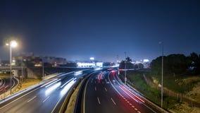 Schnellstraße und schnelle flache Zeitspanne nachts stock footage
