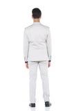 Schnellzahl in voller Länge, Geschäftsmann-Stand in Gray Suit keucht a Lizenzfreie Stockfotos