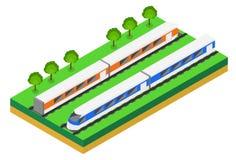 Schnellzug Isometrische Illustration des Vektors eines Schnellzugs Stockfoto