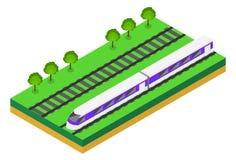 Schnellzug Isometrische Illustration des Vektors eines Schnellzugs Lizenzfreies Stockbild