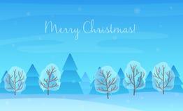 Schöner Chrismas-Winter-Landschaftshintergrund Weihnachtswaldholz Neues Jahr-Vektor-Gruß-Karte Stockfotos