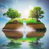 Schöner Garten auf Buch Stockbild