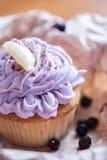 Schöner kleiner Kuchen mit sahnigem Belag Stockbilder