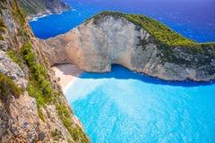 Schöner Navagio-Strand auf Zakynthos-Insel Stockbild
