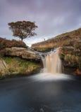 Schöner Wasserfall auf dem Heidemoor in Yorkshire Stockbilder