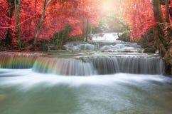 Schöner Wasserfall in der Weichzeichnung mit Regenbogen im Wald Stockfoto