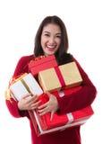 Schönes Asien-Frauenabnutzung Weihnachtsmann-Kostüm Lizenzfreies Stockbild