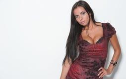 Schönes Brunettemädchen, das aufwirft Lizenzfreies Stockfoto
