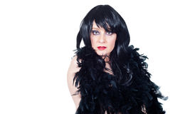 Schönes burlesque Brunetteporträt Stockfoto