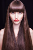 Schönes Frauenportrait Saftige rote Lippen Stockfotos