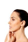 Schönes Gesicht der jungen Frau mit sauberer frischer Haut Lizenzfreie Stockbilder