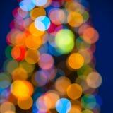 Schönes großes Zusammenfassungsweihnachtsrundschreiben beleuchtet bokeh Hintergrund, Cl Stockbild