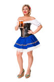 Schönes junges blondes Mädchen des oktoberfest Bierbierkrugs Stockfotos
