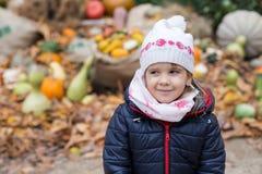 Schönes kleines Mädchen gegen einen Stapel von Kürbisen Stockfotografie